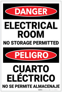 Danger: Electrical Room No Storage Permitted Bilingual - Label