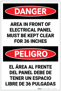 Danger: Keep Electrical Panel Clear Danger Bilingual - Label