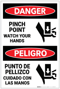 Danger: Pinch Point Watch Hands Bilingual - Label