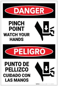 Danger: Pinch Point Watch Hands Bilingual - Label