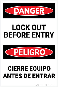 Danger: Lockout Before Entry with Icon Bilingual - Label