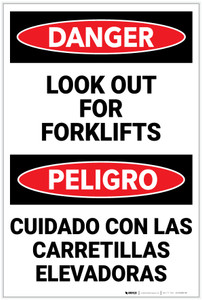 Danger: Lift Truck Forklifts Bilingual - Label