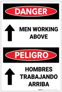 Danger: Men Working Above with Arrow Bilingual - Label