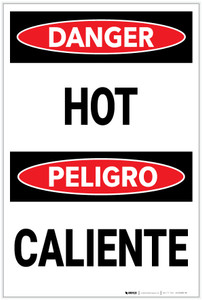 Danger: Hot/Caliente Bilingual - Label
