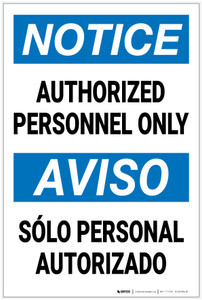 Notice: Authorized Personnel Only Bilingual Spanish - Label