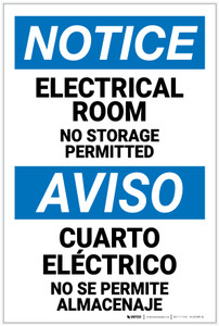 Notice: Electrical Room No Storage Permitted Bilingual Spanish - Label