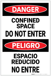 Danger: Confined Space Do Not Enter Bilingual Spanish - Label