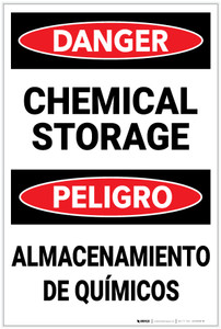 Danger: Chemical Storage Bilingual Spanish - Label