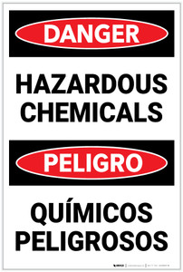Danger: Hazardous Chemicals Bilingual Spanish - Label