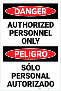 Danger: Authorized Personnel Only Bilingual Spanish - Label