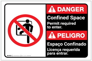 Danger: Confined Space Permit Required To Enter Bilingual Spanish - Label