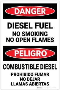 Danger: Diesel Fuel No Smoking Open Flames Bilingual Spanish - Label