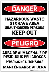 Danger: Hazardous Waste Keep Out Bilingual Spanish - Label