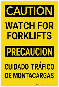 Caution: Watch for Forklifts Bilingual Spanish - Label
