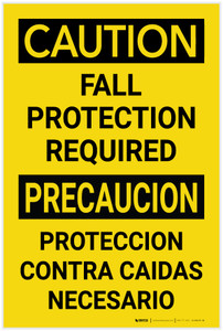 Caution: Fall Protection Required Bilingual Spanish - Label