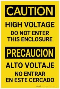 Caution: High Voltage - Do Not Enter This Enclosure Bilingual Spanish - Label