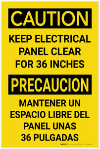 Caution: Keep Electrical Panel Clear For 36 Inches Bilingual Spanish - Label