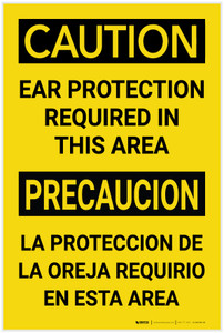 Caution: Ear Protection Required in This Area Bilingual Spanis - Label