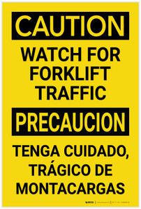 Caution: Watch for Forklift Traffic Bilingual Spanish - Label