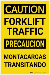 Caution: Forklift Traffic Bilingual Spanish - Label