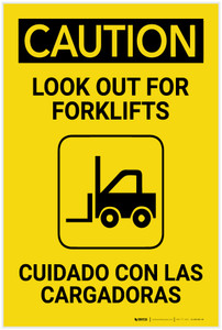 Caution: Look Out for Forklifts with Icon Bilingual Spanish - Label