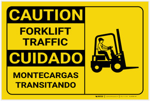 Caution: Forklift Traffic with Icon Landscape Bilingual - Label