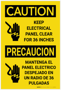 Caution: Electrical Panel with Icon Bilingual - Label