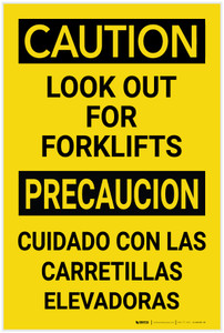 Caution: Look Out for Forklifts Bilingual Spanish - Label