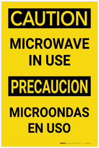 Caution: Microwave in Use Bilingual Spanish - Label