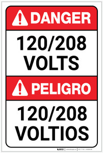 Danger: 120/208 Volts Bilingual Spanish - Label