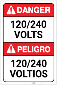 Danger: 120/240 Volts Bilingual Spanish - Label
