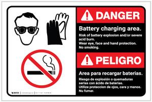 Danger: Battery Charging Area Bilingual Spanish - Label