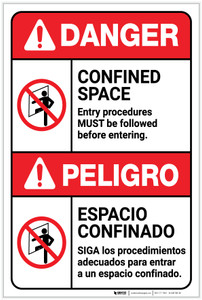 Danger: Confined Space Procedures Must be Followed Bilingual Spanish - Label