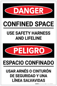 Danger: Confined Space Use Harness and Lifeline Bilingual Spanish - Label