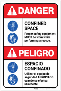 Danger: Confined Space Safety Equipment Must be Worn Bilingual Spanish - Label