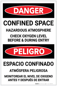 Danger: Confined Space Hazardous Atmosphere Bilingual Spanish - Label