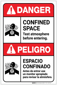 Danger: Confined Space Test Atmosphere ANSI Bilingual Spanish - Label