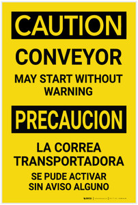 Caution: Conveyor May Start Without Warning Bilingual Spanish - Label