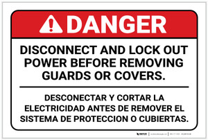 Danger: Disconnect Before Removing Guards or Covers Bilingual Spanish - Label