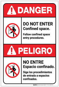 Danger: Do Not Enter Confined Space Bilingual Spanish - Label