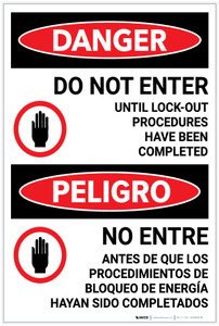 Danger: Do Not Enter Until Lockout Completed Bilingual Spanish - Label