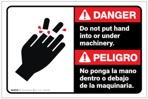 Danger: Do Not Put Hand Under Machinery Bilingual Spanish - Label