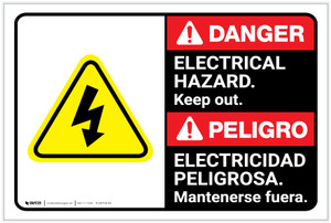 Danger: Electrical Hazard Keep Out with Graphic ANSI Bilingual Spanish - Label