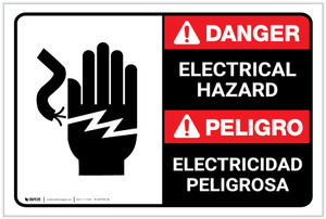 Danger: Electrical Hazard with Graphic ANSI Bilingual Spanish - Label