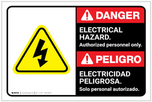 Danger: Electrical Hazard Authorized Only with Graphic ANSI Bilingual Spanish - Label