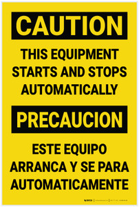 Caution: This Equipment Starts and Stops Automatically Bilingual Spanish - Label