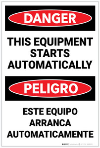 Danger: This Equipment Starts Automatically Bilingual Spanish - Label