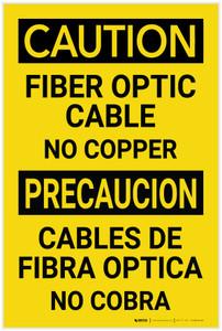 Caution: Fiber Optic Cabel No Copper Bilingual Spanish - Label