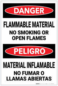 Danger: Flammable Material No smoking Open Flames Bilingual Spanish - Label