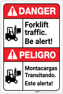 Danger: Forklift Traffic be Alert Bilingual Spanish - Label